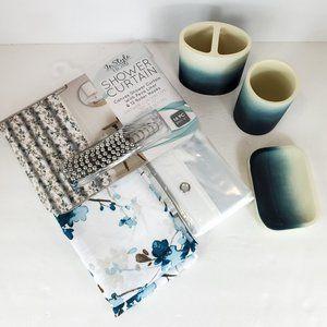 BATHROOM set 3 pc with shower curtain blue